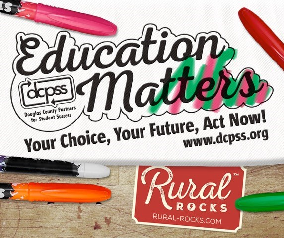 Rural Rocks is one of our partners joining us at the Douglas County Fair next week. Join us in Douglas Hall, and add some color to your future plans by coloring in our Education Matters logo on paper or a t-shirt!