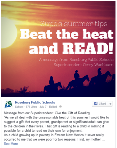 Click to read Roseburg Public Schools' Superintendent Gerry Washburn's full column on family reading time.